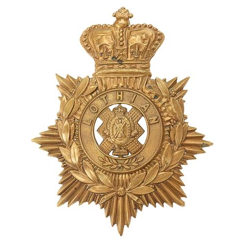 33 - Scottish. The Royal Scots (Lothian Regiment), Victorian  helmet plate circa 1881-89.Good scarce die...