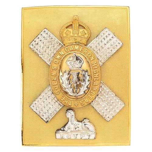 45 - Scottish. Queens Own Cameron Highlanders, post war Officers shoulder belt plate.Good gilt engine-tu...