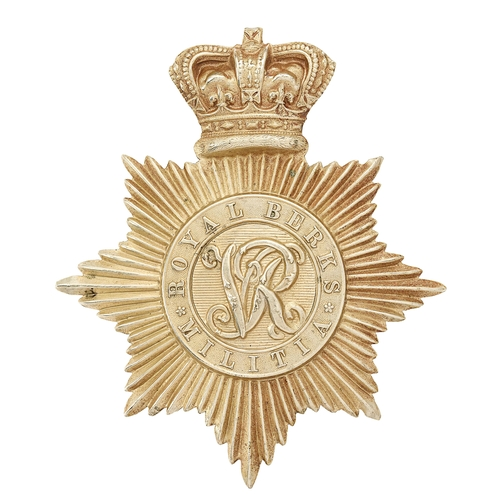 48 - Royal Berkshire Militia Victorian 1855 pattern shako plate.Good rare die-stamped white metal exampl...