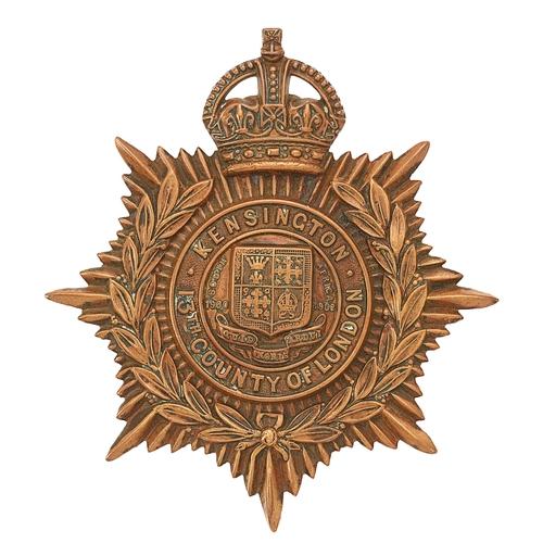 53 - 13th (Kensington) Bn. The London Regiment post 1908  helmet plate.Good die-stamped beass crowned st...