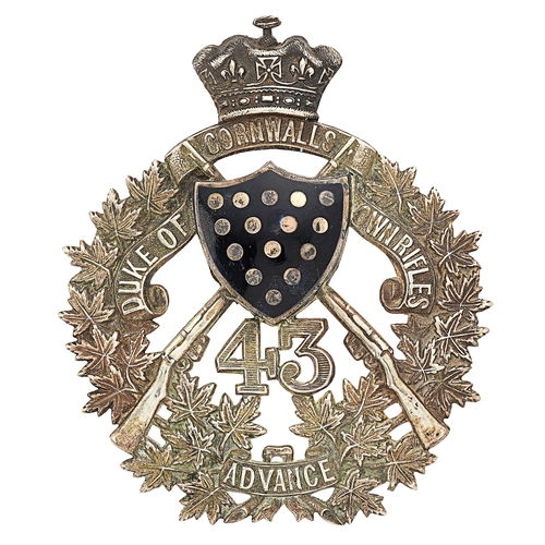 59 - Canada. 43rd Duke of Cornwalls Own Rifles post 1907 Officers pouch belt plate.Good die-stamped silv...