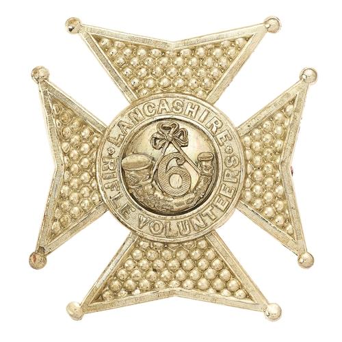 60 - 6th Lancashire Rifle Volunteer Corps Victorian shako plate circa 1860.Fine rare die-stamped white m...