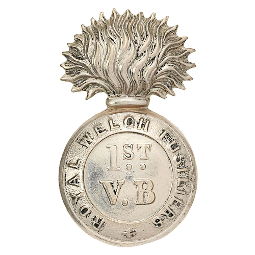 1st (Haverfordwest) VB Welsh Regiment cap badge circa 1896-1908. Good scarce die-stamped white metal flaming grenade bearing 1ST VB within ROYAL WELCH FUSILIERS circlet. Loops VGC
