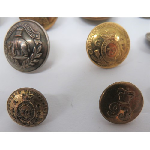 22 - Small Selection of Buttons Including Victorian including brass, Vic crown 21st Reg ... Brass, Vic cr...