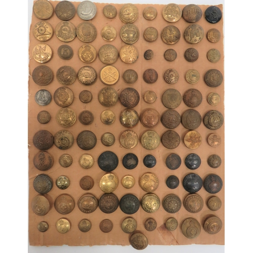 39 - Good Selection of Commonwealth Buttons including gilt, KC 101 Reg ... Brass 4th Canada ... Gilt 1st ...