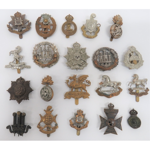 51 - Selection of Various Infantry Cap Badgesincluding bronzed KC Hampshire (blades repaired) ... Brass ...