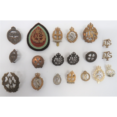 56 - Small Selection of Women's Badges cap badges include brass WAAC ... Brass KC Queen Mary's AAC ... Br...