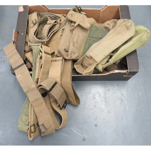 Good Selection of 1937 Pattern Webbing Equipment consisting 9 x webbing, large ammunition/utility pouches ... 15 x webbing shoulder straps ... 9 x 1937 pattern webbing belts. Various dates to equipment.