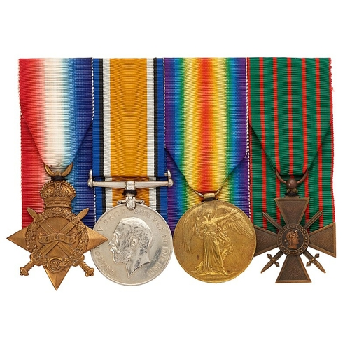 WW1 7th Bn King Own Regiment French Croix de Guerre Group of Four Medals.