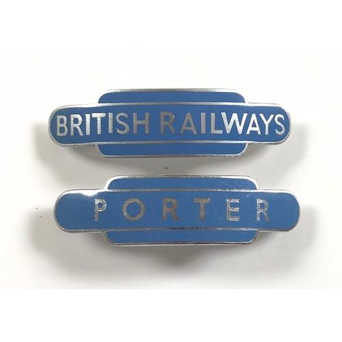 British Railways Scottish Region Porter & British Railways Cap Badges. White metal and enamel examples complete with loop fittings (2 items)
