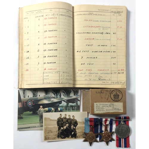 6 - WW2 57 Squadron Wireless Operators Medals & Log Book. .Awarded to Sergeant R. Chisholm who compl...