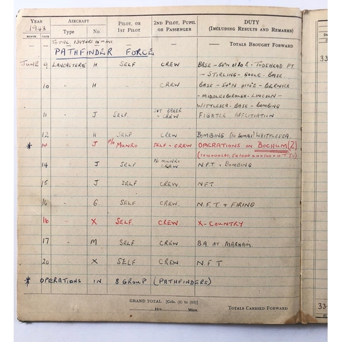 7 - WW2 RAF Pathfinder Squadron DFC Medal Group, Log Books etc. .A fine DFC medal group awarded to Squad...