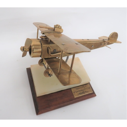 10 - Fine Engineers Model of a WW1 Aircraft brass and steel model of a German bi-plane. Working pro...