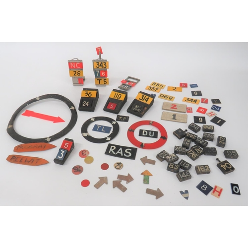 13 - Selection of Aircraft Plotting Markers including 3 x alloy plotting stands (1 damaged) ... 4 x woode...