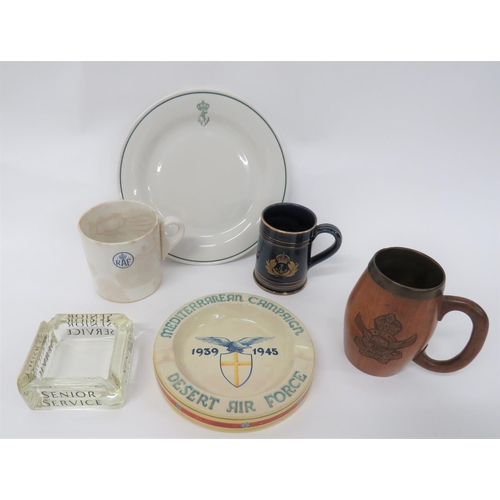 17 - Air Force Tankards and Other Items consisting turned wooden tankard with carved, KC Royal Indian Air...