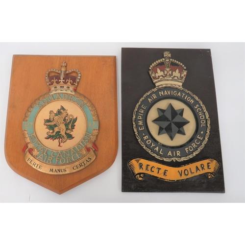 18 - Two Air Force Squadron Wall Crests consisting KC Empire Air Navigation School Royal Air Force exampl...