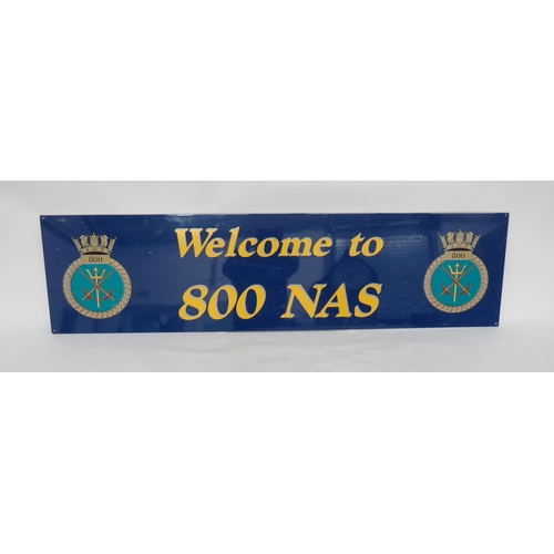 21 - 800 Naval Air Squadron Enamel Welcome Sign. A good large enamel metal sign depicting the crest of 80...