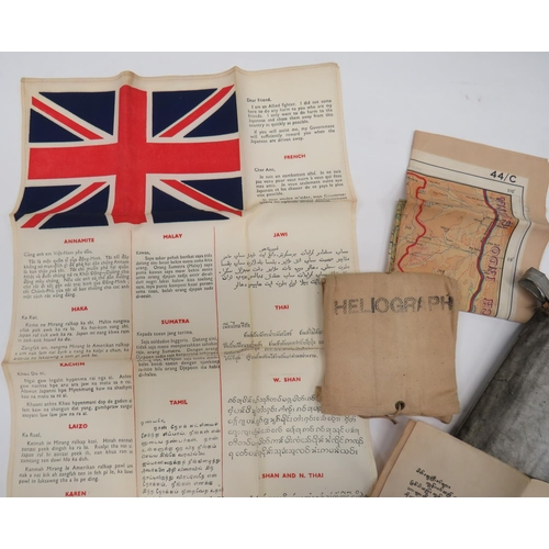 23 - Scarce Far East Escape Pack consisting silk printed, language chart with Union Jack and phrases in v...
