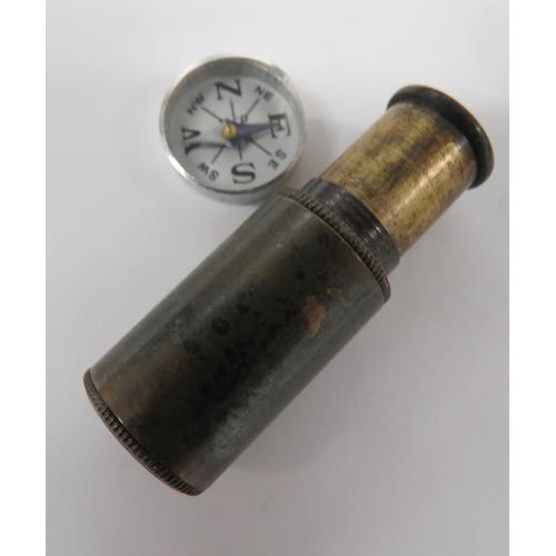 24 - Scarce Far East Escape Telescope Pack consisting darkened brass, single pull, miniature telescope .....