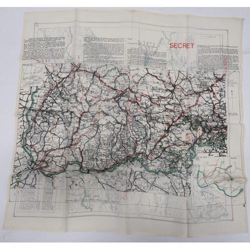 26 - Rare Escape Routes Silk Map colour printed, double sided map with route from Oflag VIIC to Mojstrana...