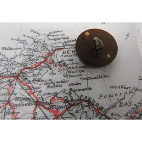 28 - WW2 Silk Escape Map and Composite Button Compass colour printed, single sided,