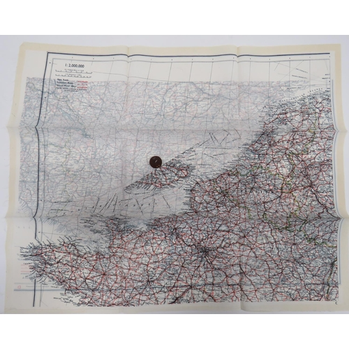 29 - WW2 Silk Escape Map and Composite Button Compass colour printed, double sided,