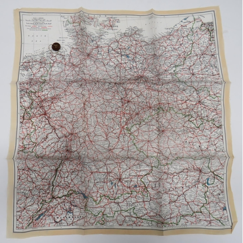 34 - WW2 Silk Escape map and Composite Button Compass colour printed, single sided,