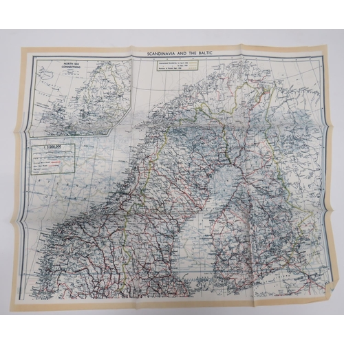 35 - WW2 RAF Silk Escape Map of Scandinavia and The Baltic colour printed, double sided map