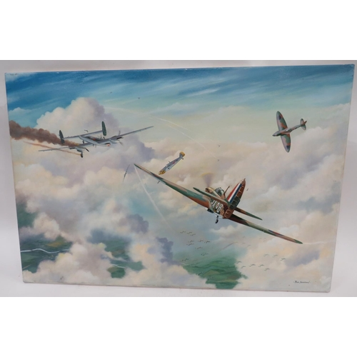 42 - Modern Oil On Canvas Battle of Britain Hurricane Picture 36 x 24 inch canvas showing a Hurricane of ...
