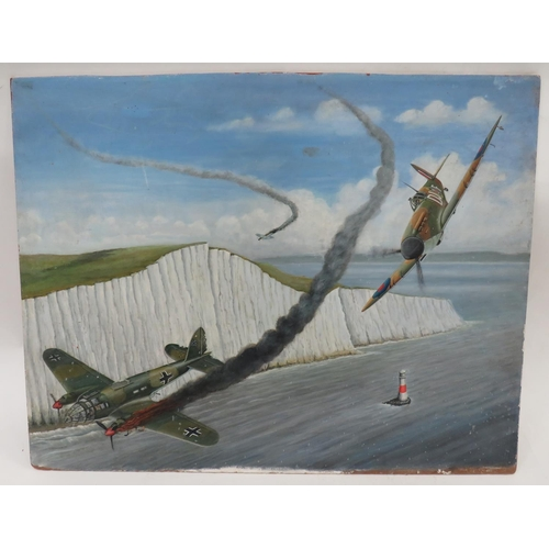 43 - Modern Oil On Board Battle of Britain Hurricane 29 x 22 1/2 inch board showing a Hurricane shooting ...
