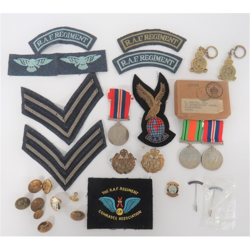 5 - WW2 RAF Regiment Group of Medals & Badges. Awarded to Mr L Briggs, comprising: Defence and War M...