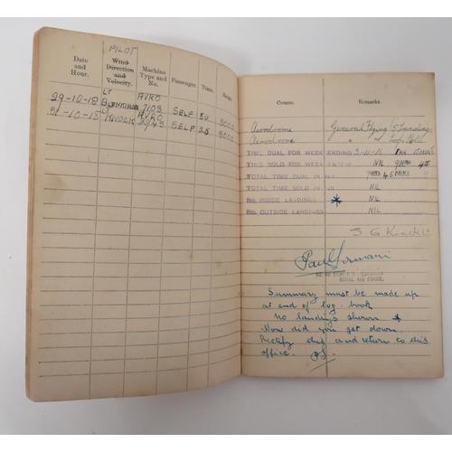 50 - WW1 RFC/RAF Pilot's Flying Log Book and Ephemera consisting brown covered, pilot's flying log book w...