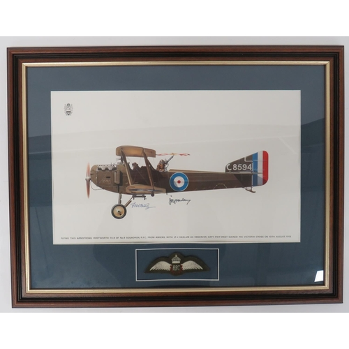 52 - Signed Print of a FK8 of 8 Sqn RFC coloured print of an Armstrong Whitworth FK8 of No 8 Sqn RFC. Si...