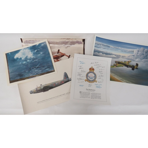 54 - Selection of Various Aviation Prints consisting print of 617 Sqn crest with facsimile signatures ......