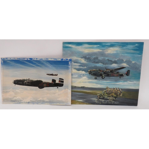 56 - Two Halifax 78 Squadron Bomber Oil Paintings consisting Halifax EY-G In Flight by D A Warmington 197...