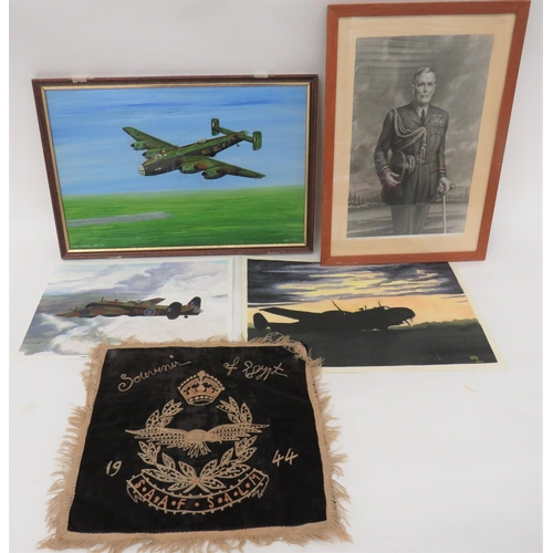 59 - Selection of Aviation Art including 1944 embroidery, S.A.A.F. souvenir of Egypt ... Black and white ...
