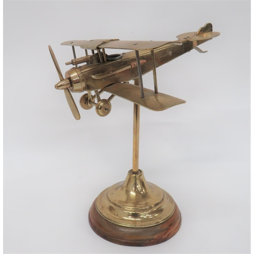 9 - Fine Engineers Model of a WW1 Aircraft brass and steel model of a German bi-plane. Working pro...