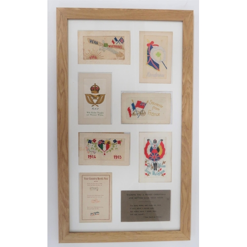 44 - WW1 Aircraft Silk Embroidered Postcard etc.Six examples of the embroidered postcards sent to loved o...