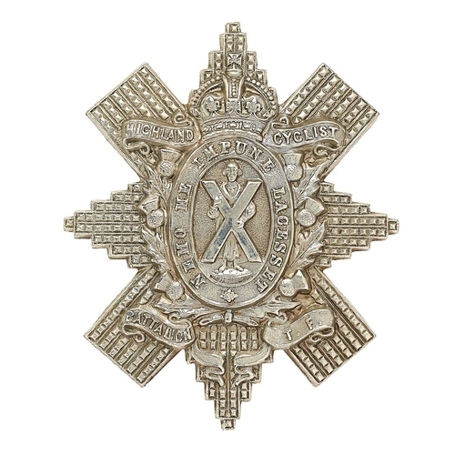 Scottish. Highland Cyclist Bn. Territorial Force glengarry badge circa 1909-19.   Good scarce die-stamped white metal LACESSET example without Sphinx.    . Loops . Minor service wear. VGC