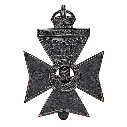 6th City of London Rifles cap badge circa 1908-35.  Good scarce die-stamped blackened brass crowned tablet DOMINE DIRIGI NOS on Maltese cross bearing SOUTH AFRICA 1900-02 and title circlet; strung bugle to voided centre.   . Crimped slider . VGC  Adopted RE cap badge in 1935 and then RA in 1940.