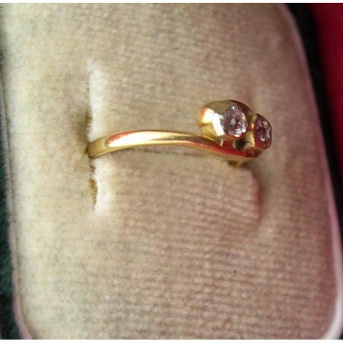 3 - 18ct Gold ring with 2 diamonds,   1.1 grams gross,      size E...