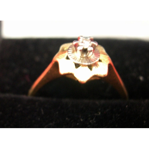 4 - 18ct yellow gold & solitaire diamond ring in illusion setting...