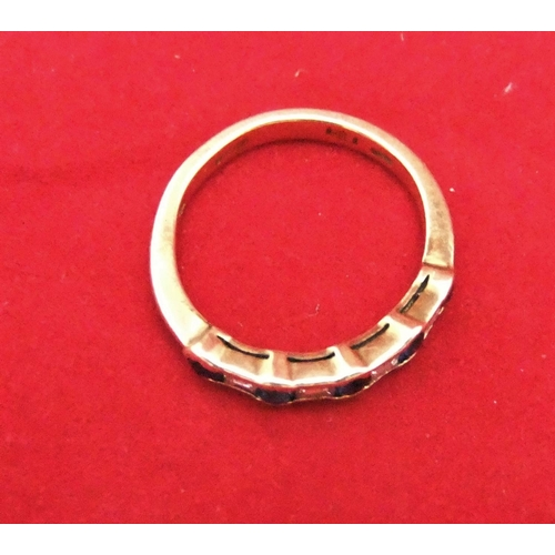 13 - 18ct Ladies diamond & sapphire half eternity gold ring,    size K, 2.1 grams gross...