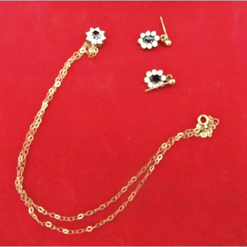 18 - 9ct gold, diamond & sapphire earrings & pendent on 9ct chain,   2.7 grams gross...