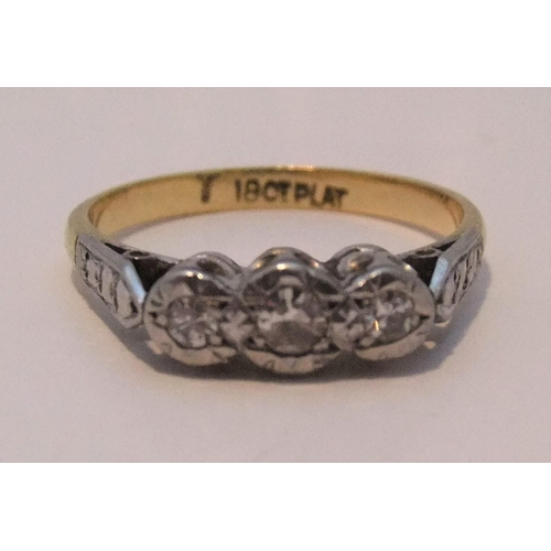 22 - 18ct gold, 3 diamond ring in platinum setting,  size K/L, approx 2.4 grams gross....