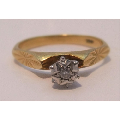 23 - 18ct gold solitaire, illusion set diamond ring  size O,   3.4 grams gross...