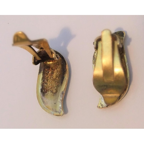 28 - Attributed to David Anderson, Norway sterling silver Turquiose enameled earings...