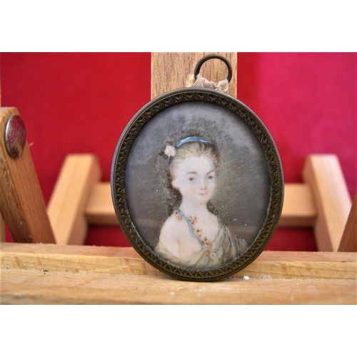 31 - Unsigned 18thC w/c portrait miniature of a lady,   Good condition,...