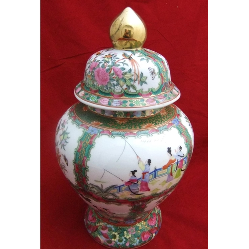 53 - vintage Chinese famille rose decorated vase with lid with faux Qing dynasty mark,   39cms high....