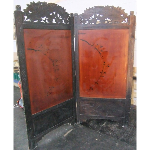56 - Huge carved Chinese 2-part folding hardwood screen with mother of pearl inlay, 19thC  Each panel app...